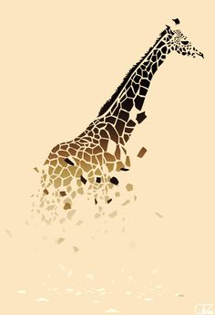 I love the use of shapes to achieve another shape. The colors bring realistic aspects while the shapes and position/rotation bring an abstract and surreal feeling. I also love how the shapes that make up the giraffe's spots are falling off...creates an interesting aspect...