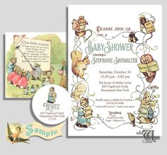 Childrens book themed baby shower invitation collection featured a vintage storybook theme baby shower invitation that features the original antique illustrative artwork of beatirx potter circa 1902 03 filmwisefo