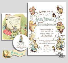 Storybook baby shower invitation storybook invitation storybook a vintage storybook theme baby shower invitation that features the original antique illustrative artwork of beatirx potter circa 1902 03 filmwisefo