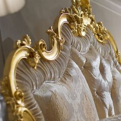 Rococo Gold Leaf Button Upholstered Bed at Juliettes Interiors, a large collection of Classical Furniture. Bedroom Furniture Uk, King Furniture, Bedroom Decor, Furniture Design, Victorian Sofa, Glam House, Paper Flower Decor, Luxury Bedroom Design, Gold Bedroom