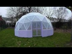 """This is the tutorial for the 22ft 11"""" low profile 3v dome, plans are available from the Geo-Dome website. This one has two doors and is covered with horticul..."""