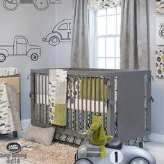 Baby Boy Grey Vintage Car Truck Route 66 Crib Nursery Theme Quilt Bedding Set
