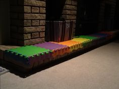 Baby proof a brick fireplace with a foam playmat!