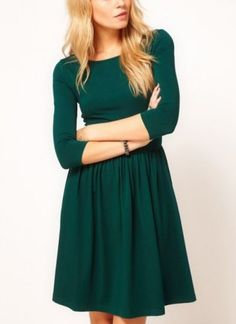 Green Three Quarter Length Sleeve Gathered Pleats Dress