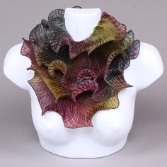 Infinity Scarf in Olive & Mauve by Min Chiu and Sharon Wang. The dynamic interplay of shibori dyeing and hand pleating imparts this dazzling adornment with a mesmerizing, kaleidoscopic effect. Shibori, Mauve, Black And Brown, Shawl, Santa Fe, Silk, Scarves, Fiber, Design