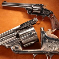 """Col. Roosevelt's Smith & Wesson Revolver-Attributed by S factory records to Col. Roosevelt. He likely took delivery of this gun prior to training his Rough Riders at San Antonio. This gun features """"combat target"""" sights & is one of only 3- 4 known to have been chambered for the .38 U.S. Service caliber cartridge, unlike most chambered in .44 Russian caliber. Standard features include a top-break frame, automatic cartridge ejection as the barrel opened fully, & a rebounding-type hammer."""