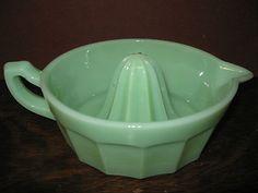 Jadeite green Glass lemon Juicer hand reamer jadite jade fruit milk orange dish