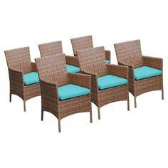 TK Classics Laguna Outdoor Dining Chairs - Set of 6 with 12 Cushion Covers Aruba / Wheat - TKC093B-DC-3X-ARUBA