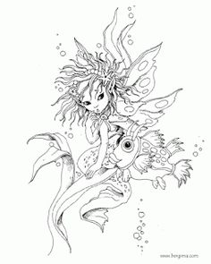 FAIRY and MERMAID Enchanted Designs - FREE colouring pages by Jody Bergsma @ Fairy Inspired BlogSpot.