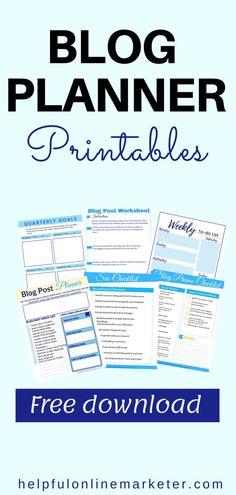 Blog Planner Printable, Free Printables, Make Money Blogging, Earn Money, First Blog Post, Blogger Tips, Blogging For Beginners, How To Start A Blog, Feeling Overwhelmed