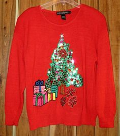Woman's Ugly Christmas Sweater - Work in Progress by Gladys Bagley Size Med Tree