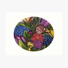 'Flower Bouquets ' Art Print by Laurajart Buy Flowers, Bright Flowers, Flower Bouquets, Large Prints, My Arts, Fancy, Colours, Printed, Awesome