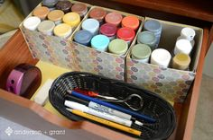 Easy #DIY project for creating decorative boxes to hold your craft paints at andersonandgrant.com