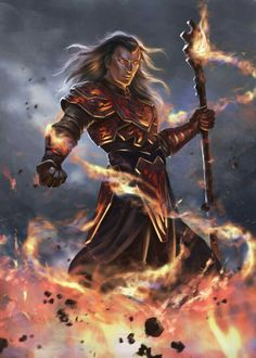 Human Fire Sorcerer -  Pathfinder PFRPG DND D&D d20 fantasy