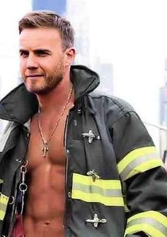 Fireman Gary Barlow OMG I can't even tell if this is real or photoshopped