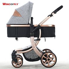 High-view,Aluminum Alloy, Bidirectional, Detachable, Suspension and Folding Strollers for Baby to Sit or Lie down (gray)