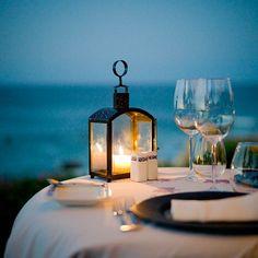 evening dinner by the sea #powder blue weddings