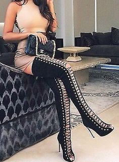 Details about CR Thigh High Open Toe Stiletto Heel Lace Up Full ...
