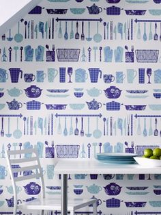 Browse our extensive selection of motif wallpaper in all colors and shades. Add interest to your walls with designer motif wall coverings by Graham & Brown. Kitchen Utensil Wallpaper, Blue Kitchen Wallpaper, Brown Wallpaper, Textured Wallpaper, Of Wallpaper, Graphic Wallpaper, Beautiful Wallpaper, Cheap Tiles, Modern Wallpaper Designs