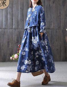 4b7155094 BUYKUD Womens Long Sleeve Floral Print Maxi Loose Bohemia Dress