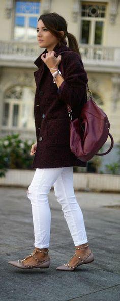 Burgundy Coat + White Skinny Jeans - Lovely Pepa