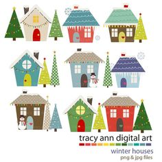 Winter Houses Clipart