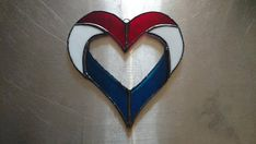 Stained Glass Red, White and Blue Patriotic Heart Suncatcher-Stained Glass Red, White and Blue Patriotic Heart Suncatcher - Stained Glass Ornaments, Stained Glass Birds, Stained Glass Suncatchers, Stained Glass Designs, Stained Glass Projects, Stained Glass Patterns, Clear Ornaments, Fused Glass, Broken Glass Art