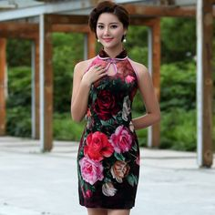 12051 - rose (S) (last pcs ) Cheongsam   Premium Velvet  S : Length 91CM Bust 86CM Waist 76CM Hip 86CM  Review: Very Good, Soft: High, Thick: Medium, Elastic: Low http://www.tokopedia.com/moderncheongsam/bbhq-cheongsam-12051-rose-s-last-pcs