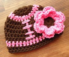 Crocheted Baby Girl Football Hat with Flower,Crocheted Baby Football Beanie - Chocolate Brown & Pink - Newborn to Child Size - MADE TO ORDER