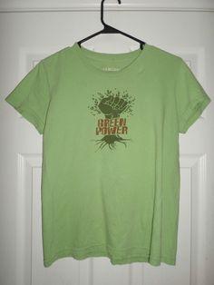 Women's Green, Red GREEN LABEL Green Power Crew Neck Logo Shirt, Size M, GUC! #GREENLABELORGANIC #PullOverCrewNeckShortSleeveShirt #Casual
