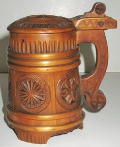 Carved wood stein | But Will They Float? Cork and Wooden Beer Steins. [1] Staved, Banded ...