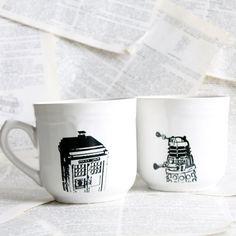 White Doctor Who Themed Tardis and Dalek Altered Teacup/Mug. $35.00, via Etsy.