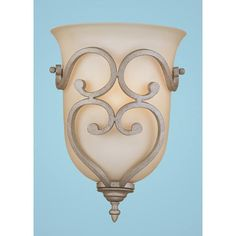 Courtney Lakes Vintage Iron One-Light Sconce with Linen Glass. 80.00