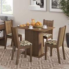 Conjunto para Sala de Jantar Mesa e 4 Cadeira Lexy Madesa Rustic/Bege/Marrom