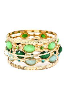 Charlotte Bracelet Set in Shimmer of Greens on Emma Stine Limited