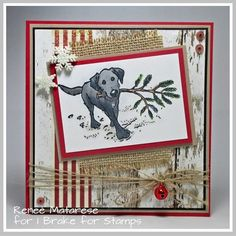 Della (@ibrakeforstamps) • Instagram photos and videos Christmas Dog, Handmade Christmas, Christmas Cards, Pine Branch, Dog Cards, Animal Cards, Happy Saturday, I Card, Stamps