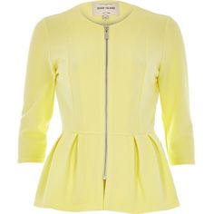 River Island Yellow jersey peplum jacket (720 EGP) ❤ liked on Polyvore featuring outerwear, jackets, river island, yellow, coats / jackets, sale, women, beige jacket, fitted jacket and river island jackets