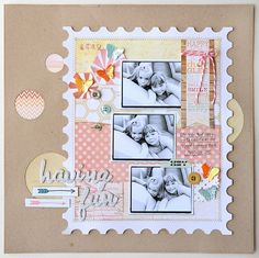 Postage stamp inspired collage