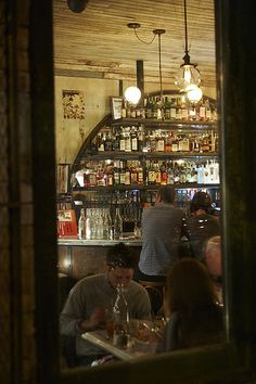 Love arched shelves of bar...5 Leaves, Brooklyn