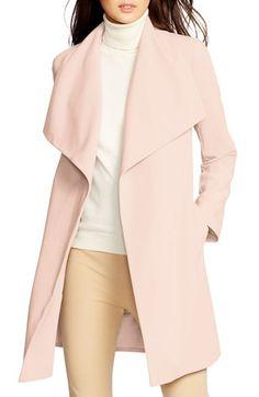 pink drape front coat