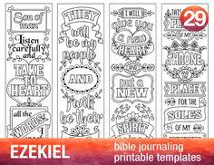 EZEKIEL - 4 Bible journaling printable templates, illustrated christian faith bookmarks, black and white bible verse prayer journal
