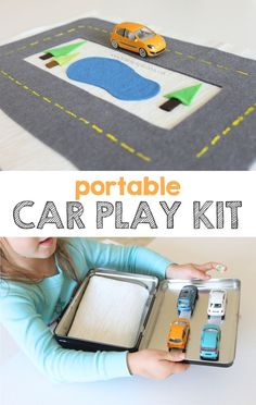 Sewing For Kids Gifts Love this portable car kit - another great gift for entertaining kids on the go. And it doesn't require sewing! - A portable car play kit for fun on the go. Kids Crafts, Projects For Kids, Diy For Kids, Gifts For Kids, Toddler Fun, Toddler Activities, Operation Christmas Child, Homemade Toys, Busy Bags