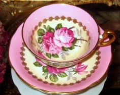 EB Foley Pink Roses on Pink Gold Bone China Tea Cup and Saucer.