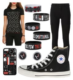"""Twenty one pilot"" by hello-poop-123 ❤ liked on Polyvore featuring 7 For All Mankind, Converse, women's clothing, women, female, woman, misses and juniors"