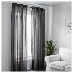 IKEA - AINA Curtains, 1 pair dark gray