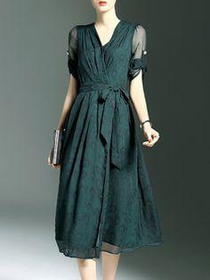 Half Sleeve Casual A-line Midi Dress Kietaisumekot d2efba2f13