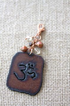 Ohm Copper Key Chain Citrine Ohm Purse Charm by DlightedJewelry, $24.00