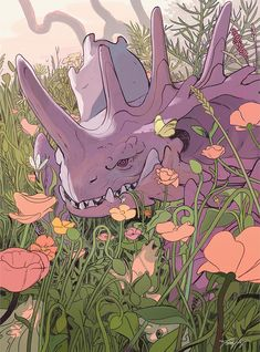 Nidoking and his clutch of Nidorans in a poppy field. I drew this maybe 3 years ago for a zine that was never released and I think about it every spring since then. Pokemon Life, Oc Pokemon, Pokemon Fan Art, Pokemon Stuff, Pokemon Images, Pokemon Pictures, Pokemon Realistic, Creature Design, Digimon