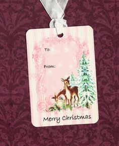 Christmas Tags Deer & Tree To From by luvcrystals on Etsy, $5.00