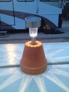 It's an inexpensive solar light that has been mounted on an inverted terra cotta pot... it provided a lot of light at that picnic table that night.